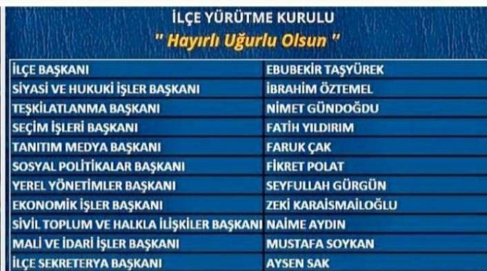 Kartal AK Parti ilçe yürütme kurulu şu isimlerden oluştu.