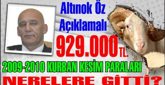 Altınok Öz Açıklamalı. 2009-2010 yılında kurban kesim yerlerinden gelen 929 bin lira paralar nerelere gitti?