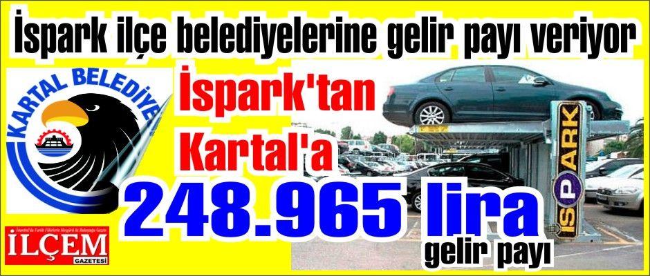 İspark'tan Kartal'a 248.965 lira gelir payı. İspark'tan ilçe belediyelerine gelir payı.