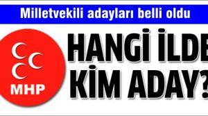 MHP'nin milletvekili aday isim listesi