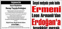 Ermeni Leon Armanlı'dan Erdoğan'a teşekkür mesajı