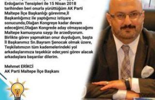 """Mehmet Erikçi, """" İlçe Başkanlığına aday..."""