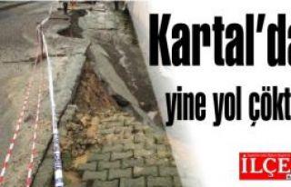 Kartal'da yine yol çöktü! Yolu çökerten inşaat...