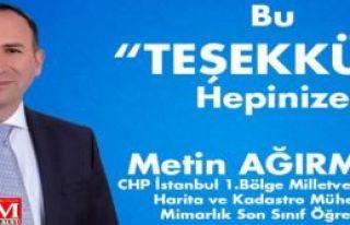 Metin Ağırman'dan teşekkür mesajı