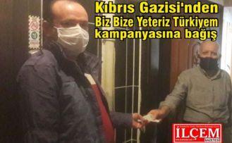 """Kıbrıs Gazisi'nden Biz Bize Yeteriz Türkiyem"""" kampanyasına bağış"""
