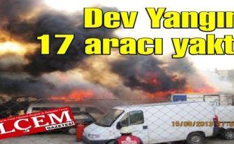Çıkan Yangın 17 aracı yaktı zarara uğrattı