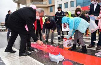 Tuzla'da Yaya Geçitleri Kırmızıya Boyandı