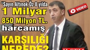 """Ahmet Karakış """"Sayın Altınok Öz 8 yılda 1 Milyar 850 Milyon TL.'yi nereye harcadı?"""" diye sordu."""